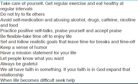 Table 3: Stress coping steps